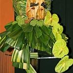 Christine Collin, buste de  feuillages avec anthuriums verts