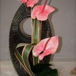 La composition est réalisée à l'extérieur du vase : au pied, des feuilles de monstera.