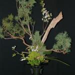 Rikka traditionnel pour l'accueil. Le pin en ikebana symbolise la longévité, le courage et la force de caractère. Harmonie et chaos : Gaya étant la déesse primordiale.