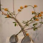 Duo de vases en raku et branches de Kerria japonica.