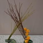 Composition Ikebana sur duo de coupes basses :  branches de saule et cornus avec des roses jaunes.