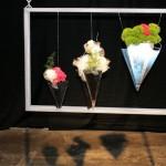 Roses blanches entourées de tulle, comme photographiées aux rayons- X Des radiographies découpées sont collées sur les vases.