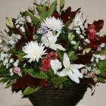 Dans un panier carré, chêne d'Amérique et aucuba structurent une composition de fleurs variées.