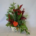 Le contenant décoré et la célosie rouge renforcent l'harmonie automnale.
