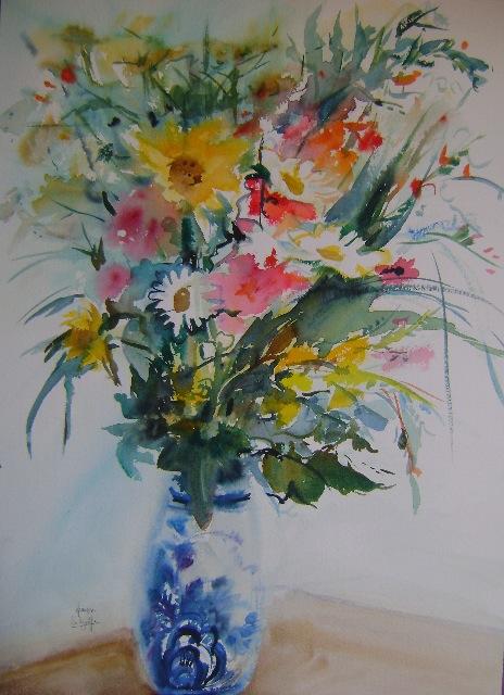 Françoise Selezneff a démarré l'aquarelle lorsque ses enfants sont nés.    Fleurs bretonnes : 56 x 76 cm .