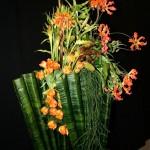 Support réalisé en feuilles d'aspidistras, technique utilisée à Boston par M.Luce Paris.Ici avec des fritillaires, des tulipes et des gloriosas.