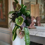 Opulent bouquet de végétaux exotiques : anthuriums,feuilles d'asplenium, cordyline noire.