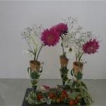 De simples  végétaux de jardin sont ici utilisés dans les flûtes.