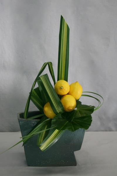 Les feuilles aux lignes jaunes et vertes du Pandanus sanderi s'accordent parfaitement avec les citrons.