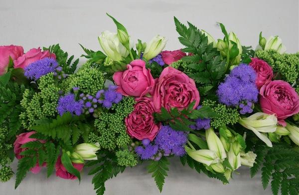 Panier De Fleurs Fraîches : Rose et violet inspirations florales