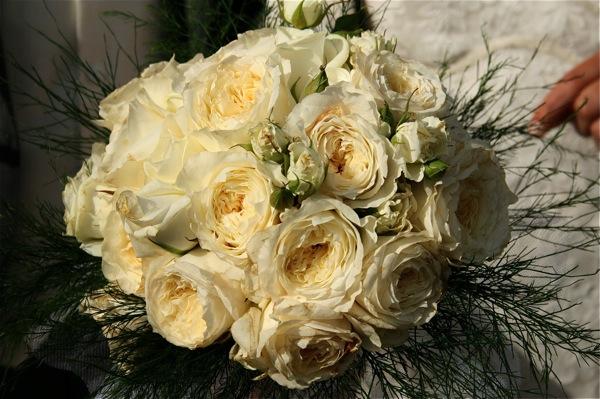 Des roses Patience pour le bouquet de la marièe qui portait une robe en dentelle.