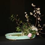 Branches fleuries et camelia composent un moribana vertical, composition de base de l'école Ohara.
