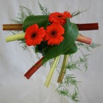 Les gerberas orange éclairent le jeu de tiges de rhubarbe, une branche d'asparagus plumosus apporte légèreté à l'ensemble.
