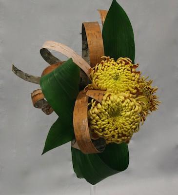 Chrysanthèmes, écorces et aspidistra pour un bouquet automnal.