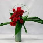 Les roses rouges sont groupées en masse de couleur.