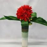 Les dahlias cactus sont  groupés en masse sur le vase.