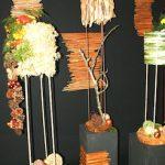 Des fougères sèchées frondes et tiges avec pommes de pin,  décor nature d'A.Chatelon.