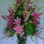 Grand bouquet de fleurs,chou et artichaut sous la tente.