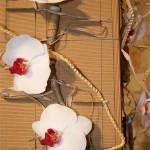 Fleurons de phalaenopsis blancs mis en valeur sur un support en carton ondulé.