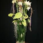 Vert : feuilles d'aspidistra vertes et panachées, presles,anthuriums géants, lys blancs; Masami Maasa.