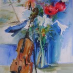 Amaryllis et violoncelle,peinture réalisée pour l'affiche d'une exposition  56 x 76 cm