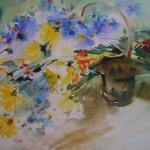 Quelques touches d'aquarelle  donnent vie à une coulée de fleurs s'échappant d'un panier. 56 x 76cm.
