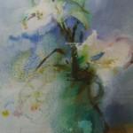Elle maîtrise avec subtilité le cheminement des pigments à travers l'eau.  Fleurs de pommier  18 x 25 cm.