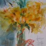Bouquet de jonquilles . Des couleurs chatoyantes éclairent les aquarelles de Françoise Selezneff.16 x 18 cm