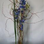 Dans un haut vase à section carrée, delphiniums bleus ,wax et feuilles d'iris.