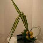 Citrons et  lignes de feuilles de pandanus sdans une coupe basse. Suzanne Sas.