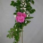 Le bouquet est dessiné avec des branches de hêtre, le coeur est  souligné de feuilles d'hosta panaché.
