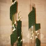 Les larges volutes de prêles entourent de hauts tubes de verre garnis d'arums blancs.