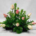 Les fleurs sont posées dans la diagonale.