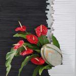 Du noir et du blanc jaillisent anthuriums et feuilles d'aspleniums ainsi que le ballon du film Invictus.